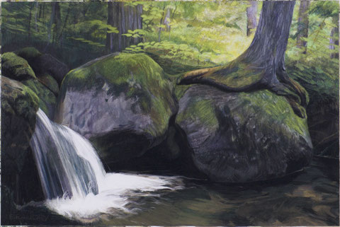 francois beaudry pastel and watercolor painting landscape water rocks tree via appalachia series 7