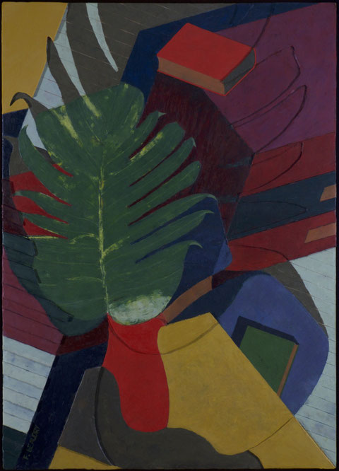 francois beaudry encaustic painting bas-relief still life monstera leaf red pot