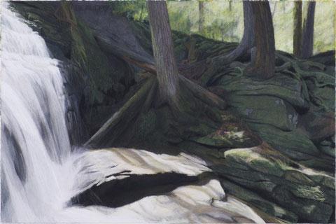 francois beaudry pastel et aquarelle peinture tableau paysage cascade série via appalachia 10