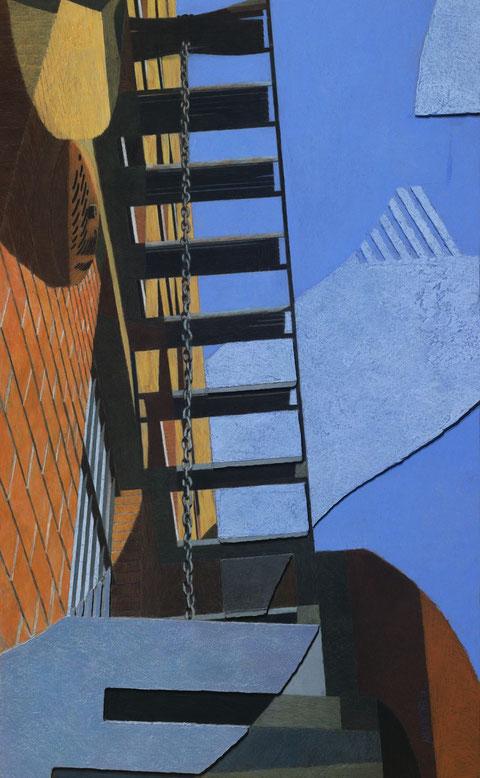 francois beaudry technique mixte peinture pastel aquarelle encaustique série escalier de secours montreal canada
