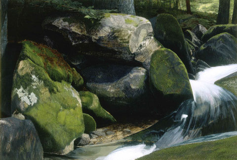 francois beaudry egg tempera painting landscape cascade rocks moss dog via appalachia series 1