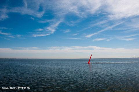 nord, see, meer, himmel, tonne, boje, rot, blau, himmel, wolken