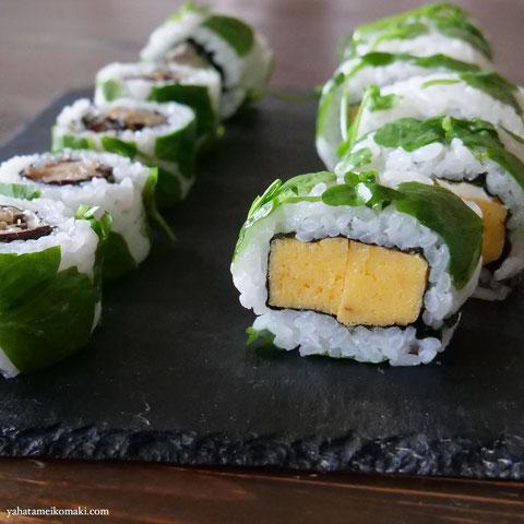 川口エンドウの豆苗の巻き寿司2