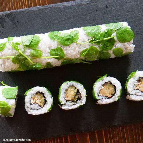 川口エンドウの豆苗の巻き寿司
