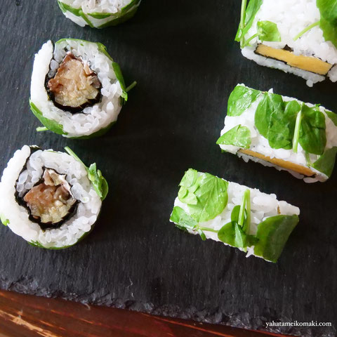 川口エンドウの豆苗の巻き寿司3