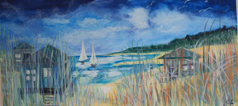 Summer Beach Huts - Sally-Anne Adams Artist
