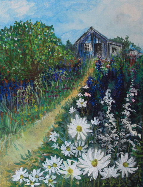 Pathway to Shed painting - Sally-Anne Adams Artist