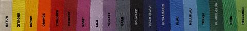 """Das """"MONDKISSEN"""" (Meditationskissen) ist in diesen 19 schönen Farben erhältlich. -Zum Vergrößern bitte anklicken!"""