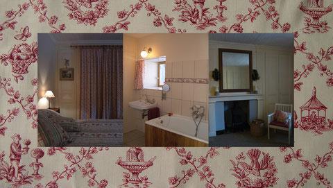 Suite avec espace chambre, salon et bureau, salle de bains privative