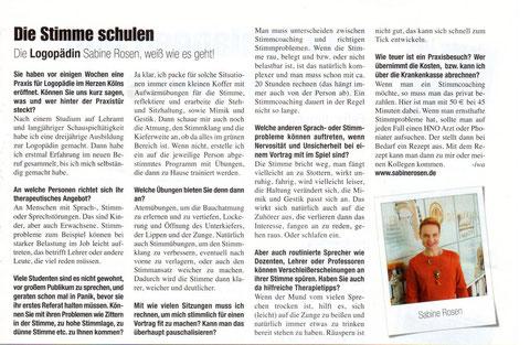 Bericht in der Kölner Illustrierten