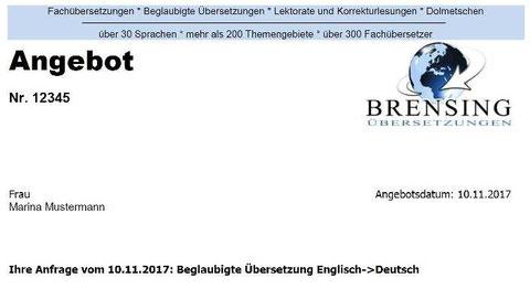 Angebot für beglaubigte Übersetzung