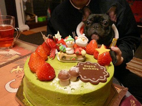 宇治抹茶のクリスマスケーキだよ♪ハイチーズ^3^