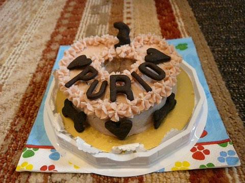 今年のお誕生日ケーキですwwクリームはさつまいも、中身はお肉です(´・ω・`)