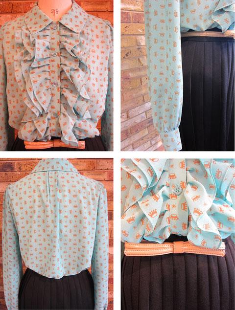 ブラウス¥33600(size36 ブルー) スカート¥25200(size36 ネイビー)machiko jinto london-Sold out-