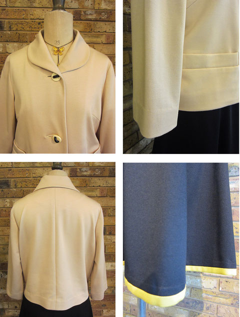 ジャケット¥39900(size36 ベージュ、他にグレー) スカート¥25200(size36 ブルーグリーン、他にブラック)machiko jinto london      ネックレス¥1680 P.B-Sold out-
