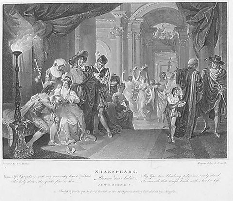 Romeo's first interview with Juliet  engraving by A. Smith  after painting by W. Miller