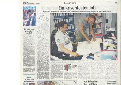 """Artikel von """"Die Märkische Oderzeitung"""""""