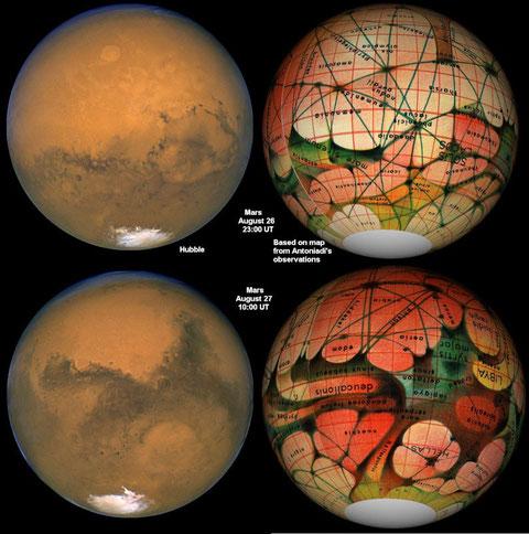 Mars vu par l'astronomie moderne et à droite par l'astronomie Shiapparelli