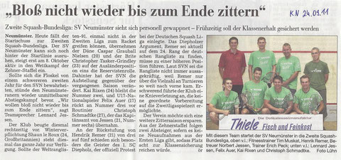 Kieler Nachrichten - Saisonvorbericht Team I