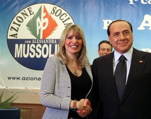 Rome 31 mars 2007  :  Berlusconi et Alessandra Mussolini