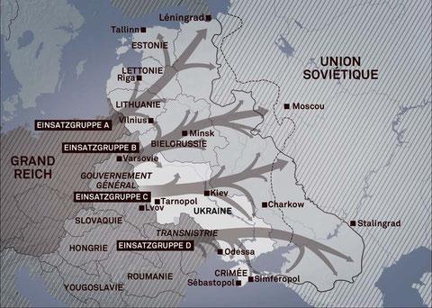 Les zones d'action des Einsatzgruppen en Union soviétique. Source : Institut für Zeitgeschichte, München -Berlin, 1999