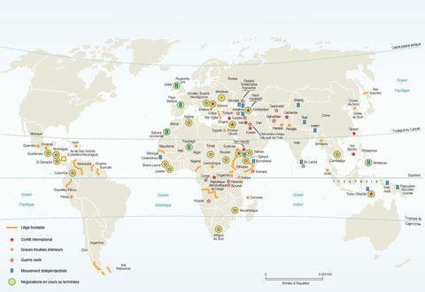Carte des conflits années '90