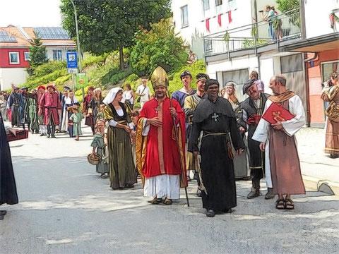 Der Passuer Bischof persönlich führte den Festzug an, der die Braut von der Ortsgrenze abholte