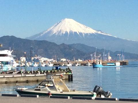先日、クライアント先近くの清水港から撮った富士山。