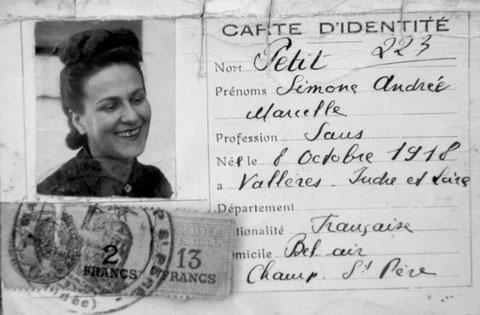 Entrée dans la clandestinité, Odette Roux sillonne la campagne munie d'une fausse carte d'identité.