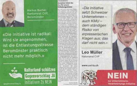 CVP Beromünster, Abstimmung vom 29. November 2020, Kulturlandinitiative, Unternehmens-Verantwortungs-Initiative