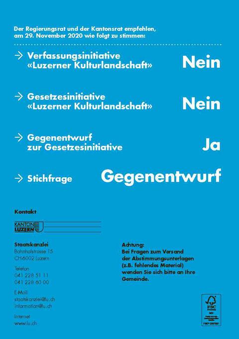 CVP Beromünster, Abstimmung vom 29. November 2020, Empfehlung Regierungsrat, Empfehlung Kantonsrat, Kanton Luzern