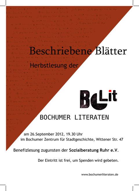 Autorenlesung am 26.09.2012 - Wir danken für die Unterstützung der Bochumer Literaten für unseren Verein