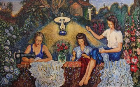Вышивала бабушка синий василёк (посвящается моим дорогим рукодельницам - бабушке Евдокии, тёте Женечке и мамочке).  О.Щиголев, х.м. , 65х100