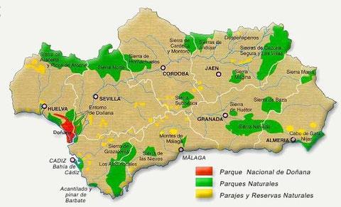 Mapa de los espacios naturales de Andalucía
