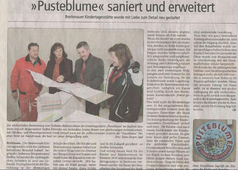 Sanierung Kindergarten Pusteblume Breitenau abgeschlossen, Wochenspiegel 04/2011