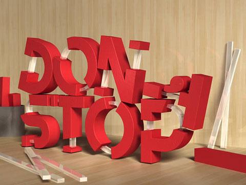 3D, текст, из резины и стекла, Фотошоп