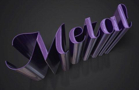 гладкий, металлический, 3D, текст, фотошоп