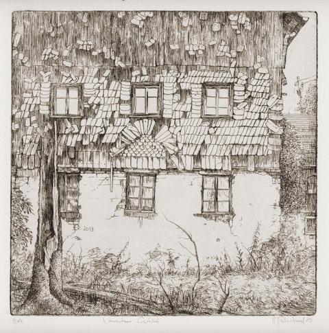 Hans-Jürgen Reichelt, Lausitzer Giebel, 2013, Radierung, 20 x 20 cm, Auflage 50 Expl. (Editionsblatt des 32. Dresdner Graphikmarkts)