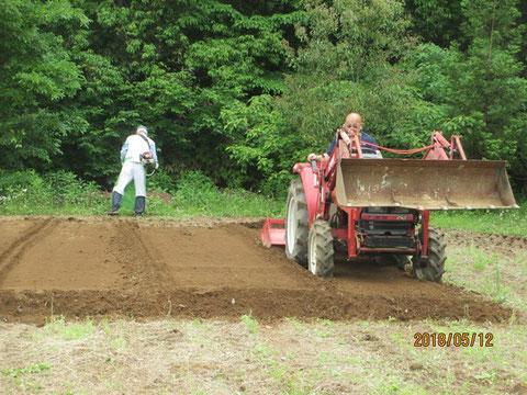 サツマイモ畑の耕耘作業も進んでいます