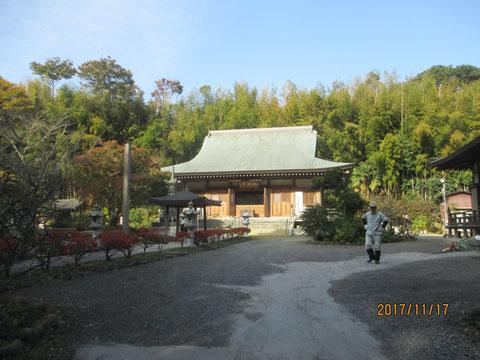 福満寺の本堂とその裏手の竹林