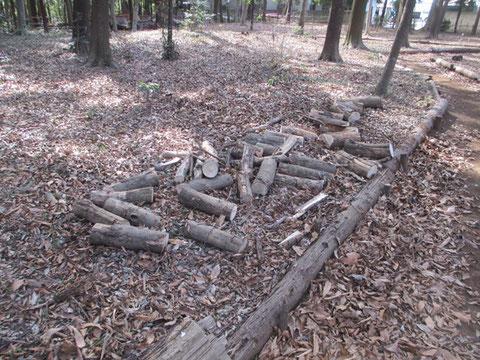 太い枝は切って薪にします