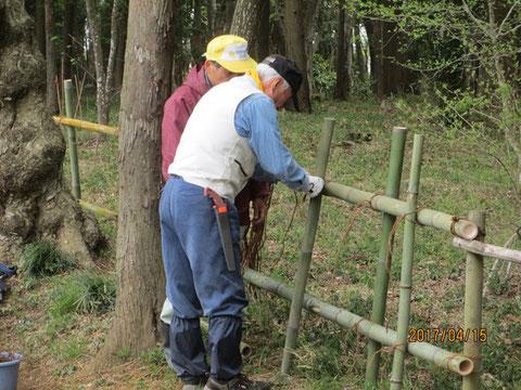竹柵の改修作業が続いています