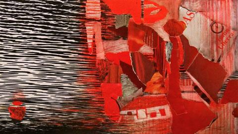 Eine Collage in rot, schwarz, weiß. Im linken Teil des Bildes sieht man Wasserstruktur und eine Boje. Zur rechten Seite mischen sich immer mehr Rottöne unter, die mit der klaren Grafik korrespondieren.