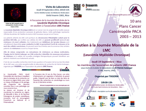 PLAN CANCER CANCEROPOLE PACA INSERM LMC FRANCE LEUCEMIE MYELOIDE CHRONIQUE CANCER LABORATOIRE