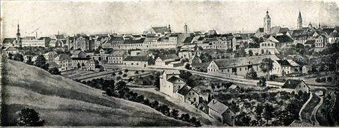 Gesamtansicht von Schweinfurt auf einer Postkarte um 1905 - vergrößerbar!
