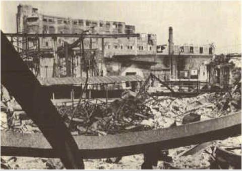 Zerbombte Industriegebäude