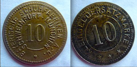 Kleingeldersatz 10 Pfennig Bayer. Schuhfabrik