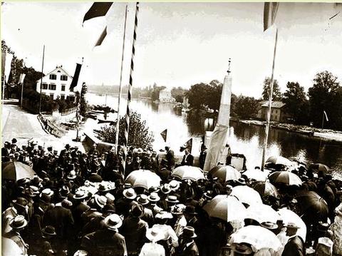 17.Juli 1904 - Das Denkmal Theordor Fischers zu 100 Jahre Schweinfurt in Bayern wird enthüllt - Stadtarchiv Schweinfurt