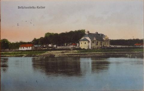 Brückenbräukeller um 1925 - Blick von der gegenüberliegenden Mainseite
