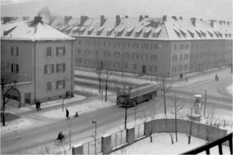 Niederwerrner Straße Schweinfurt in den 1950ern - Kreuzung Richard Wagner Str.